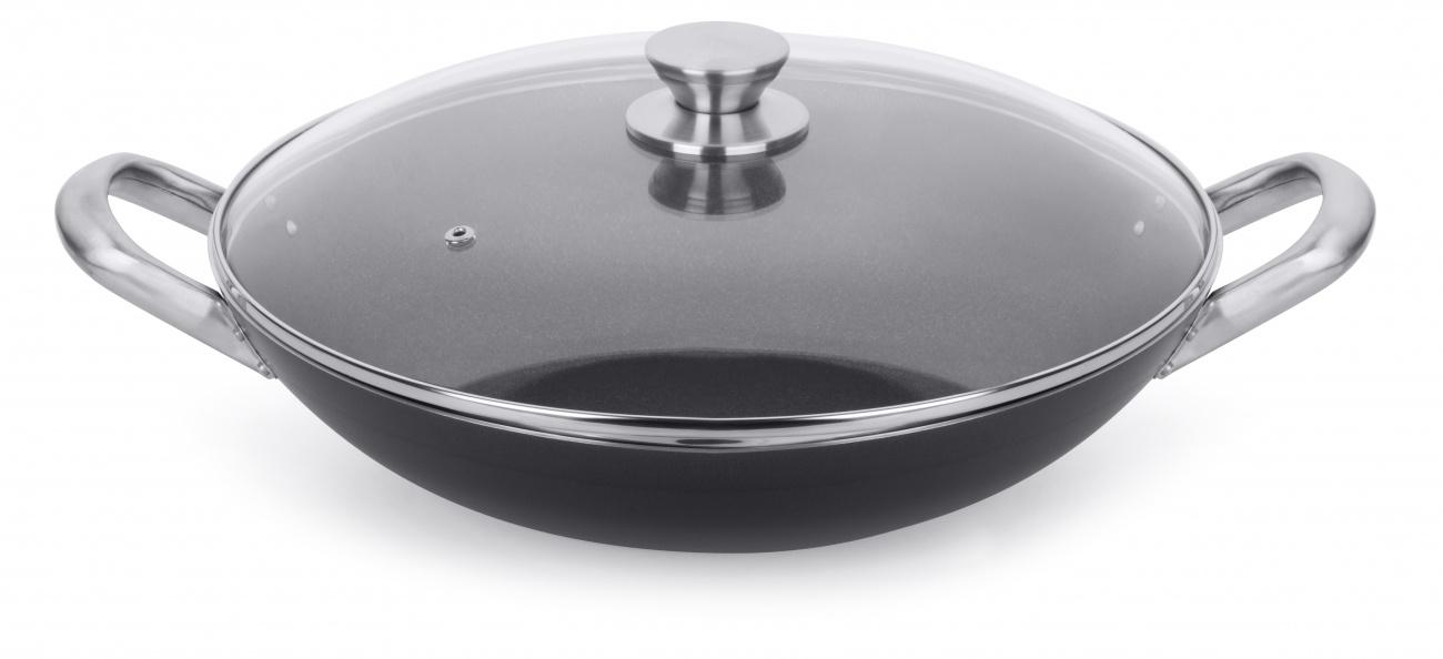Multiflon Frigideira Wok 34 Profissional Antiaderente De Aluminio Com Asa E Tampa De Vidro
